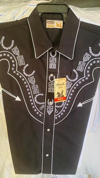 Camisa Vaquera Caballero Bordado Muralla Señor De Los Cielos