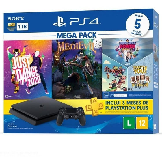 Console Playstation 4 Slim 1tb + 5 Jogos + 3 Meses Playstati