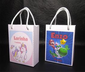 60 Sacolinhas Personalizada Unicornio Bailarina Mario Mickey