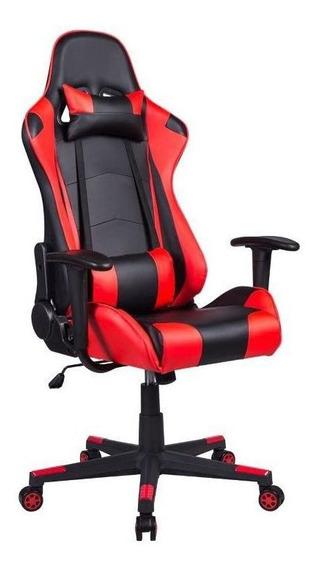 Cadeira Gamer Reclinável Couro Pu Preta E Vermelha Pel-3012