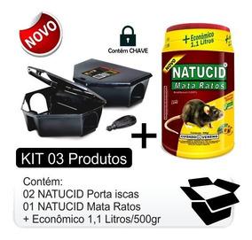 Kit 01 Natucid Mata Ratos + 02 Natucid Porta Iscas Com Chave
