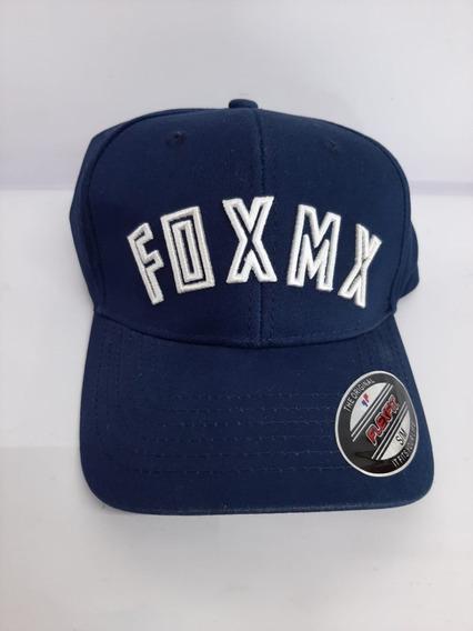 Gorra Fox Azul Marino Con Logo Delineado Blanco