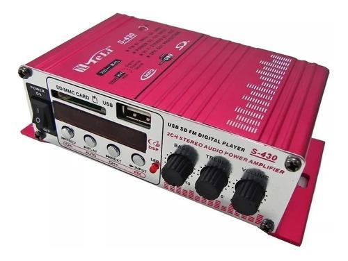 Mini Amplificador Audio Potencia 10w X2 Canales S-430 Usb Sd