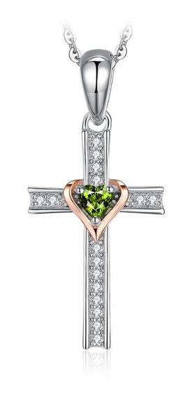 Dije Cruz Gema Peridoto Corazón Ak Jewelry Plata 925 Oro