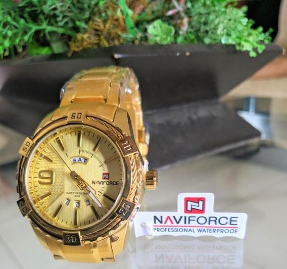 Relógio Naviforce® Original Gold Ouro Clas
