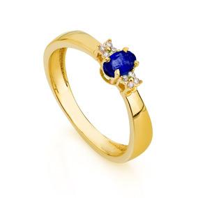 Anel De Formatura De Ouro 18k Safira Com Diamantes An33790 A