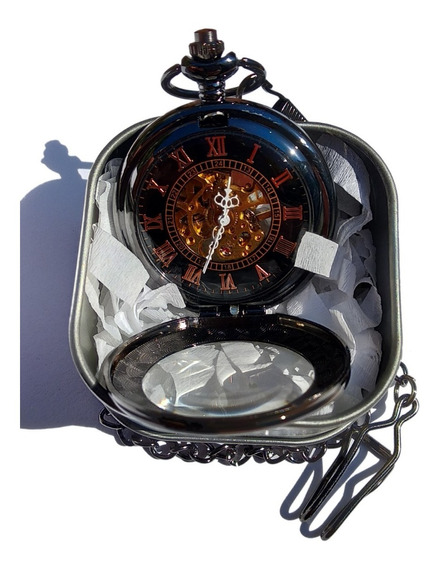 Reloj De Bolsillo Tipo Vintage Negro Mecanico De Cuerda 22