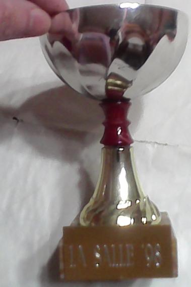 Copa Trofeo Copa Metal Plata Con Base Marmol -decada 90-retro-(lasalle 98). Muy Linda Y Decorativa-coleccionistas-