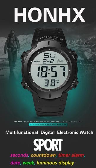 Relógio Masculino Digital Varias Funções Led Esportivo Flex