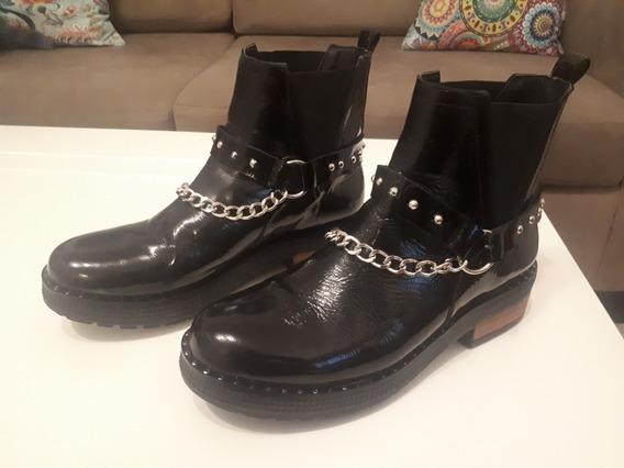 Zapatos Botita De Cuero Talle 38 Con Acc/ Tacha Cadena