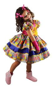 Vestido Quadrilha Festa Caipira Junina + Luva+ Laço Cabelo