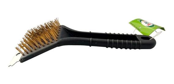 Escova Limpar Grelha Churrasqueira Com Espátula Cerdas De Aço