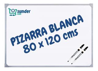 Pizarra Blanca 80x120 Borde Metal Reforzada + 2 Marcadores