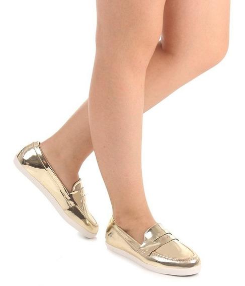 Sapato Feminino Mocassim Vizzano Metal Glamour Dourado