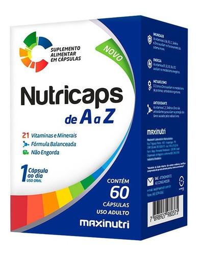 Imagem 1 de 2 de Nutricaps Polivitamínico De A Z Com 60 Cápsulas - Maxinutri