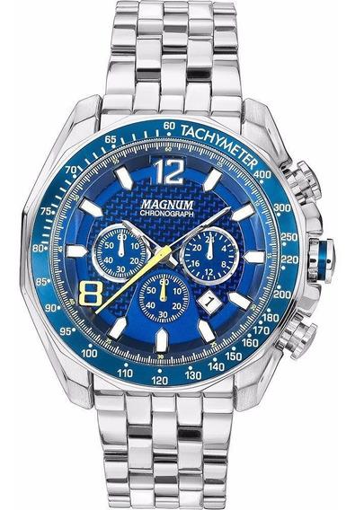 Relógio Magnum Masculino Ma32167f Azul Cronógrafo Oferta