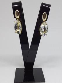 Brinco Feminino Folheado Ouro Gota Cristal Pedra Esposa Joia