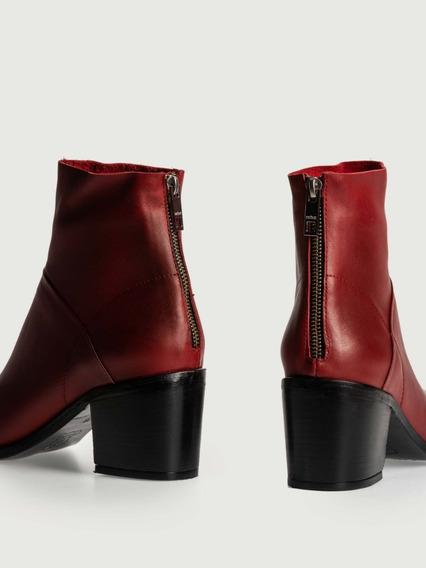 Bota Moore Roja -vison- Negro Cuero Prune Zapato Mujer