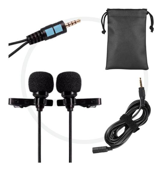 Microfone Duplo De Lapela P/ Celular Smartfhones + Extensão