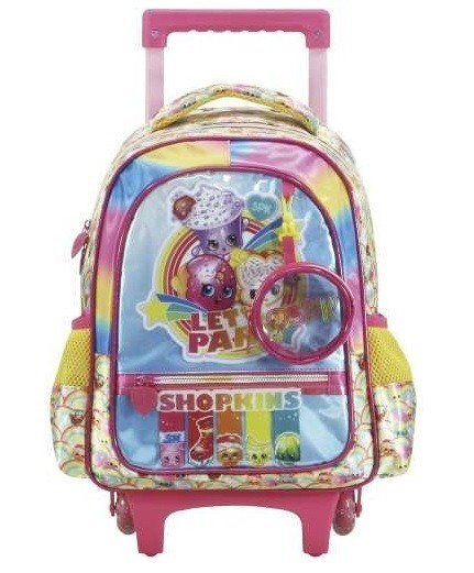 Mochila Com Rodas Infantil Xeryus 16 Shopkins Rainbow Party