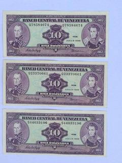 Billetes 10 Bolívares Junio 5 De 1995 Seriales Q7 Q2 S4