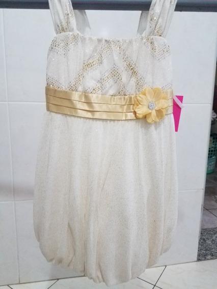 Vestido Infantil 9 Meses - Branco E Dourado