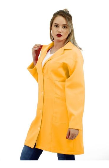 Jaleco Feminino Amarelo Acinturado (04)