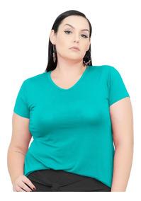 Roupa Feminina Blusa Bata De Malha Gola V Plus Size +56