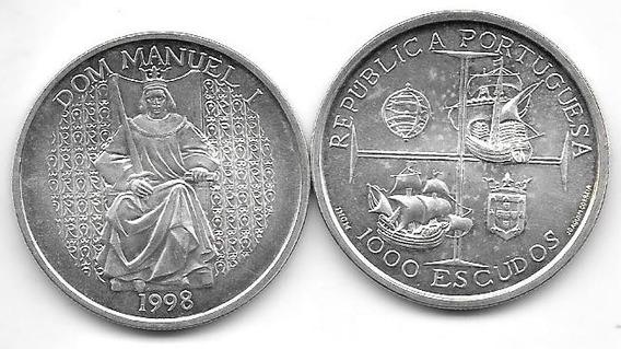 Moneda Portugal Plata 1000 Escudos 1998 Rey Dom Manuel Barco