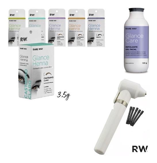 3 Henna Rare Way + Esfoliante Glance Care + Mixer Misturador