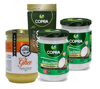 Kit 2 Óleo Coco Extra-virgem 500ml + Ghee 500g + Açúcar Coco