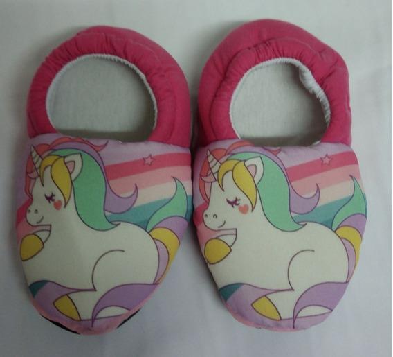 Pantufa Unicornio Ponei Arco Iris Flamingo * Sob Encomenda