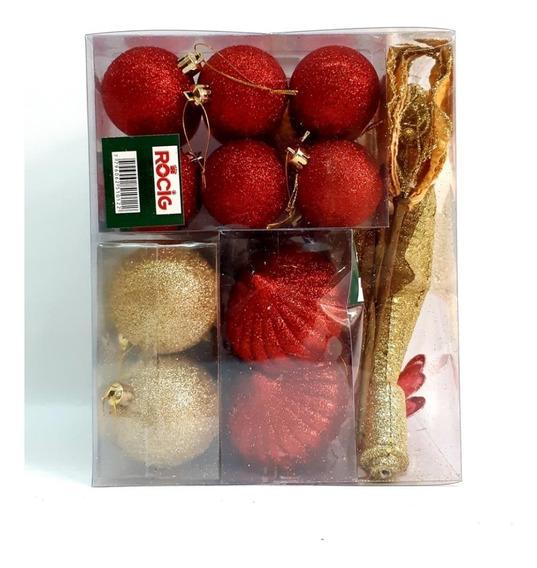 Kit De Adornos 36 Pzas. Rojo/oro P/ Árbol De Navidad
