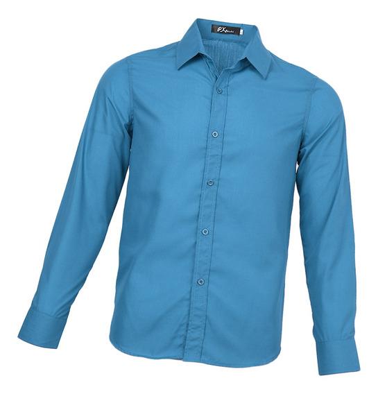 Camisas Poliéster Hombre Mangas Largas Puños Regulares