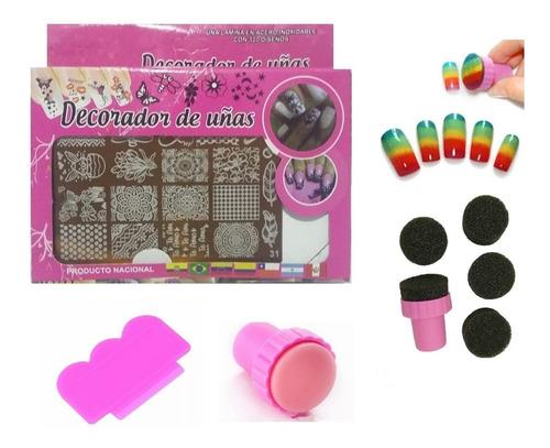 Placa Estampadora Kit + Esponja Difuminadora X5 Arte En Uñas
