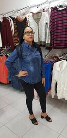 Camisa Jeans Feminina Lisa Com Botão Roupas Feminina