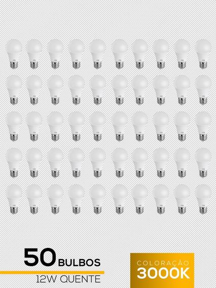 Kit 50 Lampadas Led 12w Bulbo Amarela Quente L&d Promoção
