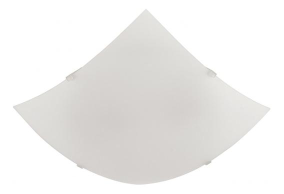 Plafon De Sobrepor Vidro Quadrado 30cm Blumenau Branco Ef