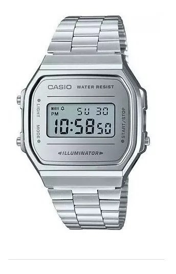 Relogio Original Casio Digital Unissex Prata Fundo Prataa168