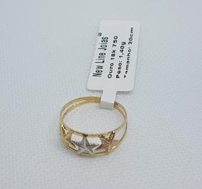 Anel Em Ouro 18k 750 Trés Cores Trés Estrelas 1,40 Gramas