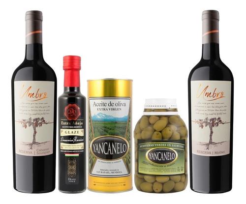 Combo Aceite, Aceto, Aceitunas Y Vino Yancanelo