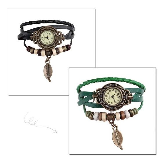 2 Relógios Feminino Pulseira Em Couro Retro Vintage Lindo