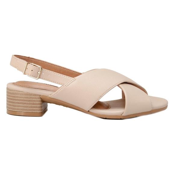 Sandalias Mujer Cuero Ecológico Avellanataco 4cm Comfortflex