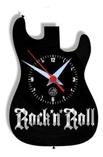 Relógio De Parede Vinil - Guitarra Rock N Roll Instrumento