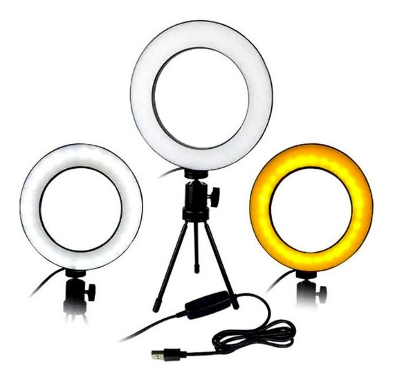 Luminária Ring Light 16cm Usb Led Misto 3500k 5500k + Trip
