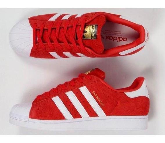 adidas Superstar Camurça Unissex - Vermelho/branco