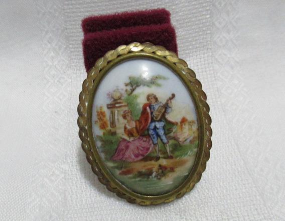 Camafeo Miniatura Escena Romantica Porcelana Limoges France