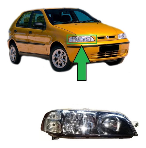 Optico Delantero Derecho Fiat Palio 2002 Al 2005 - Negro