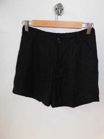 Short Negro Liso Mujer Vestir Bolsillos Lino