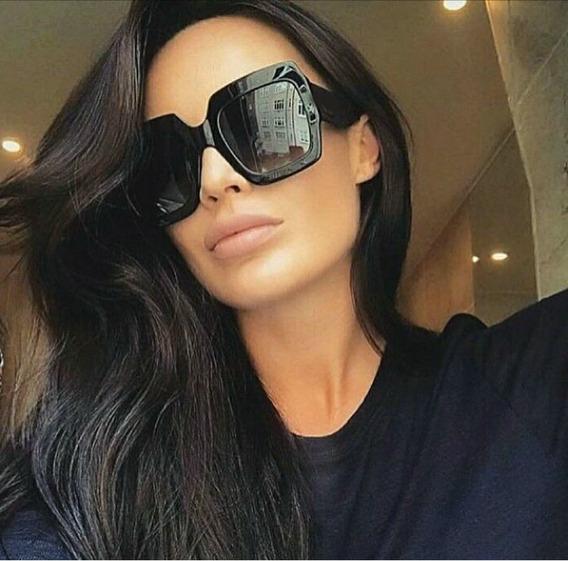 Óculos Luxo De Sol Chique Para Mulher Lente Preta Blogueira